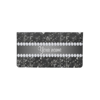 Faux Black Sequins and Diamonds Checkbook Cover