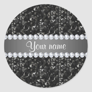 Faux Black Sequins and Diamonds Classic Round Sticker