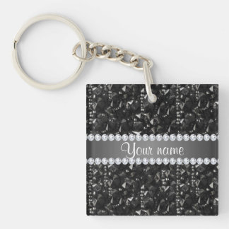 Faux Black Sequins and Diamonds Keychain