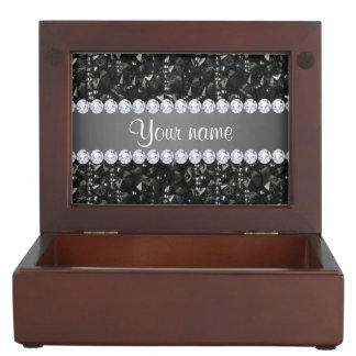 Faux Black Sequins and Diamonds Memory Box