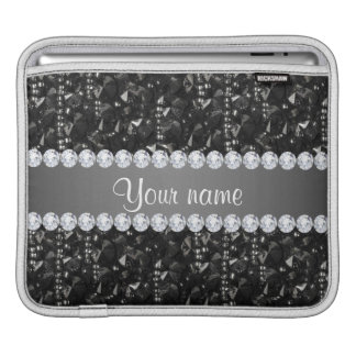 Faux Black Sequins and Diamonds Sleeve For iPads