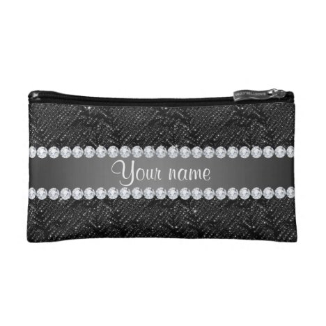 Faux Black Sequins Sparkles and Diamonds Cosmetic Bag