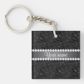 Faux Black Sequins Sparkles and Diamonds Keychain