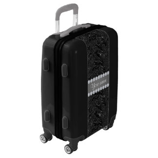 Faux Black Sequins Sparkles and Diamonds Luggage
