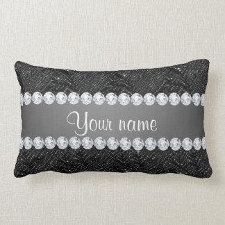 Faux Black Sequins Sparkles and Diamonds Lumbar Pillow