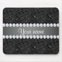 Faux Black Sequins Sparkles and Diamonds Mouse Pad