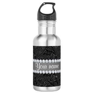 Faux Black Sequins Sparkles and Diamonds Stainless Steel Water Bottle
