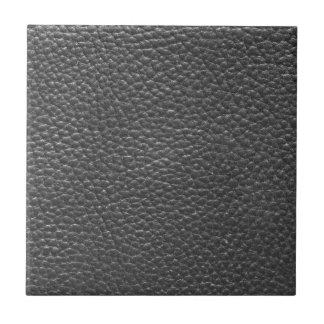 Faux Black Worn Leather Ceramic Tile
