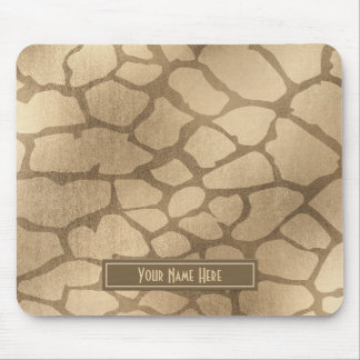 "Faux ""Blonde"" Gold Giraffe Print Personalized Mouse Pad"