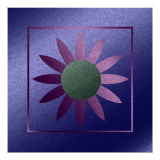 Faux Blue and Pink Foil Abstract Flower Poster