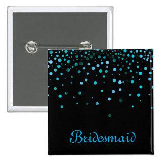 Faux Blue Confetti Elegant Sparkles Bridesmaid Pinback Button