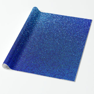 Faux Blue Glitter Background Sparkle Texture Wrapping Paper