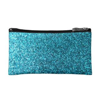 Faux Blue Glitter Makeup Bags