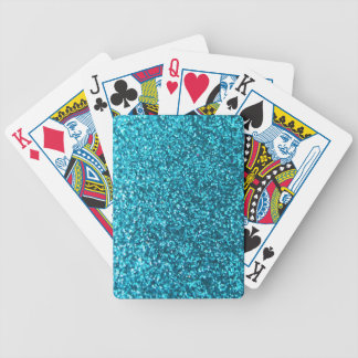 Faux Blue Glitter Bicycle Playing Cards