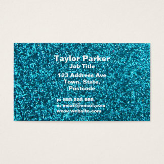Faux Blue Glitter Business Card