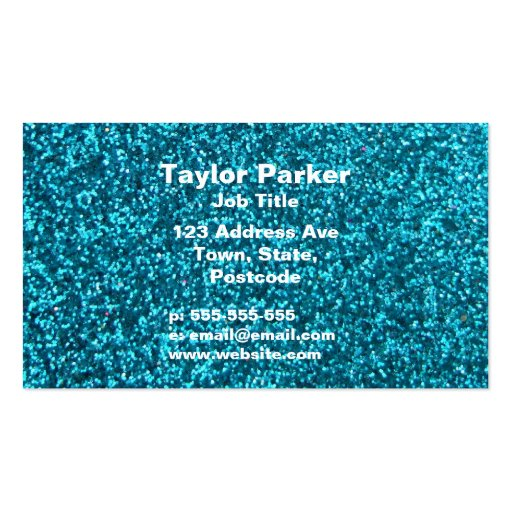 Faux Blue Glitter Business Card Templates