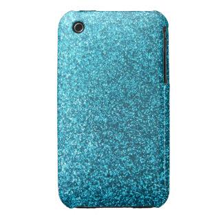 Faux Blue Glitter Case-Mate iPhone 3 Cases
