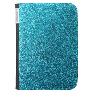 Faux Blue Glitter Kindle Folio Cases