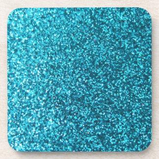 Faux Blue Glitter Drink Coaster