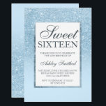 """Faux blue glitter elegant chic Sweet 16 Invitation<br><div class=""""desc"""">A modern,  pretty chic and elegant faux blue glitter shower ombre with pastel blue color block Sweet 16 birthday party invitation with blue ombre pattern fading onto a blue background with and elegant gold frame .</div>"""