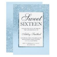 Faux blue glitter elegant chic Sweet 16 Invitation