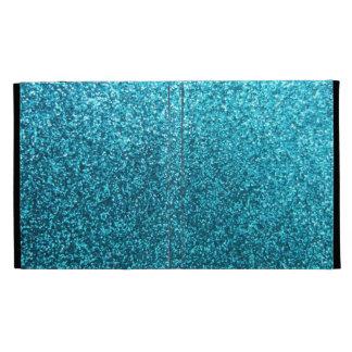 Faux Blue Glitter iPad Folio Cover