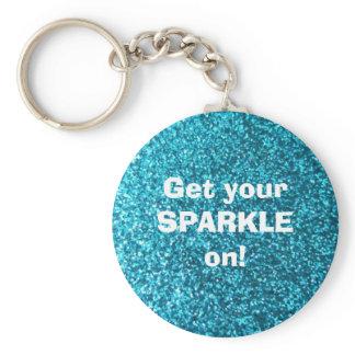 Faux Blue Glitter Keychain