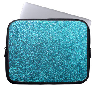 Faux Blue Glitter Laptop Computer Sleeves