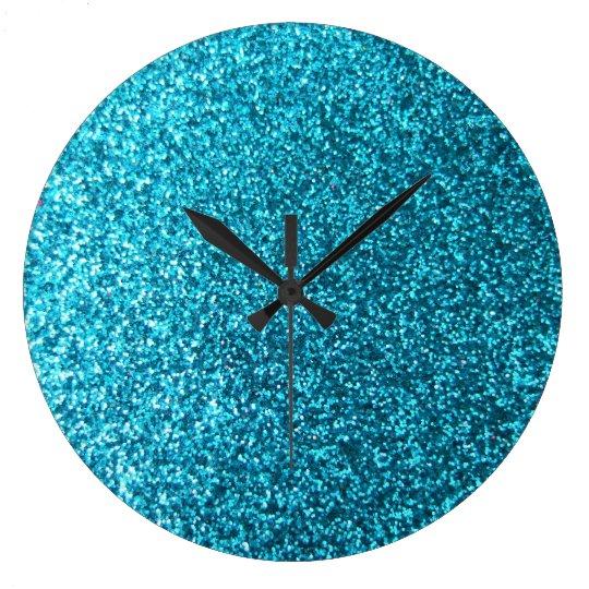 Faux Blue Glitter Large Clock