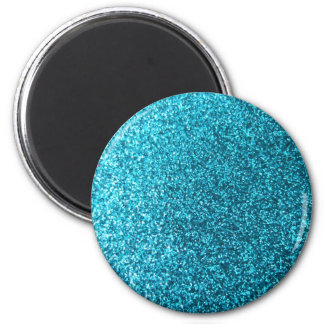 Faux Blue Glitter 2 Inch Round Magnet