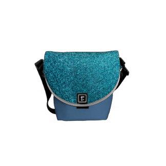 Faux Blue Glitter Courier Bag