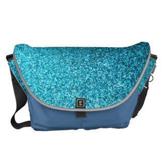 Faux Blue Glitter Commuter Bags