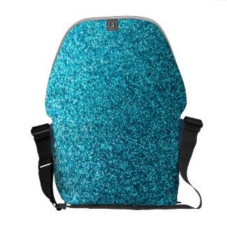 Faux Blue Glitter Messenger Bag