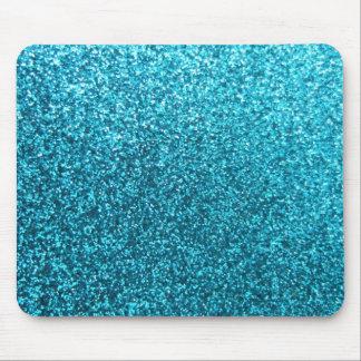 Faux Blue Glitter Mouse Pad