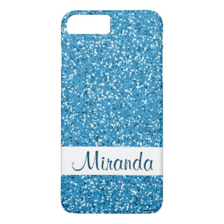 Faux Blue Glitter Pattern Look-like & Name iPhone 8 Plus/7 Plus Case