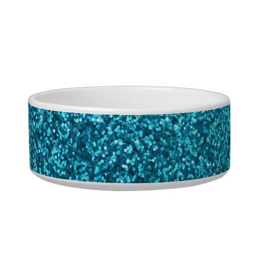 Faux Blue Glitter Pet Food Bowls