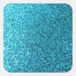 Faux Blue Glitter Square Sticker