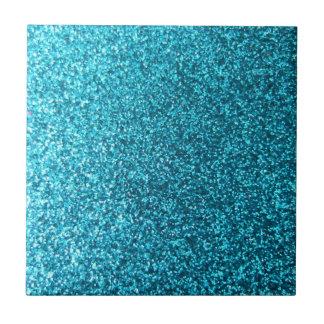 Faux Blue Glitter Ceramic Tile