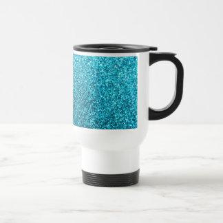 Faux Blue Glitter Travel Mug