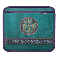 Faux Blue Green And Celtic Knot Ipad Sleeve at Zazzle