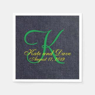 Faux Blue Jean Denim Cloth 3d Monogram Napkin