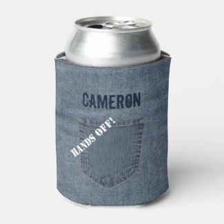 Faux Blue Jeans Denim Can Cooler Personalized Name