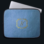"""Faux Blue Leather Effect Custom Printed Neoprene Computer Sleeve<br><div class=""""desc"""">Personalized Monogram blue Faux Leather effect neoprene laptop sleeve. Add a name for a personalised gift.</div>"""