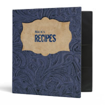 Faux Blue Leather Personalized Recipe Binder