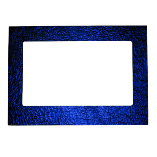 Faux Blue Leather Texture Magnetic Photo Frame