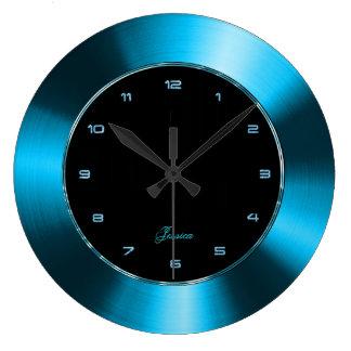 Faux Blue  Metallic Design Stainless Steel Look Large Clock