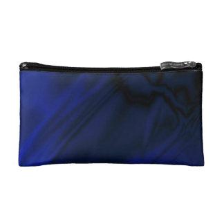Faux Blue Satin Makeup Bag