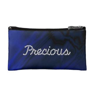 Faux Blue Satin Precious Makeup Bag
