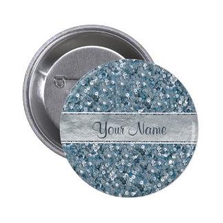 Faux Blue Sequins Silver Foil Glitter Pinback Button