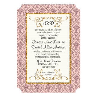 Faux Blush Gold Glitter Damask Ticket Style Invite